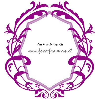 紫色のダマスク調オーバルフレーム・枠