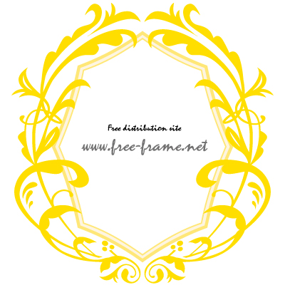 黄色のダマスク調オーバルフレーム・枠