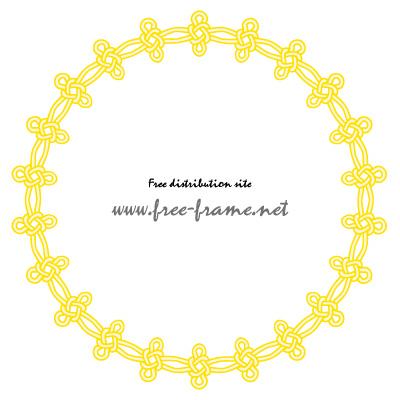 黄色い連続した結び目イラストの円形フレーム・枠