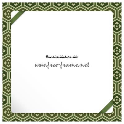 緑色の亀甲柄四角フレーム・枠