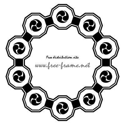 黒い巴紋が連なる円形フレーム・枠