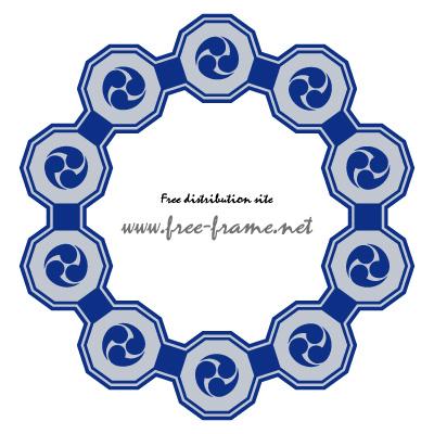 紺色の巴紋が連なる円形フレーム