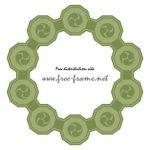 緑色の巴紋が連なる円形フレーム・枠