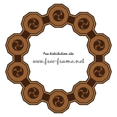 茶色の巴紋が連なる円形フレーム・枠