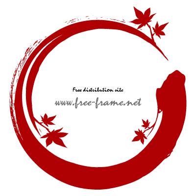 赤いもみじのイラストが添えられた円形フレーム・枠