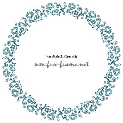 青い植物イラストの円形フレーム・枠