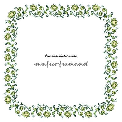 緑色の植物イラストの四角形フレーム・枠