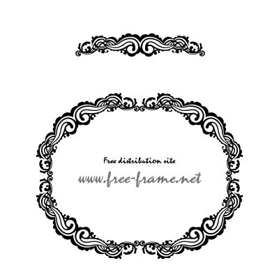 クラシカルな円・楕円形のフレーム・枠用のイラレパターンブラシ