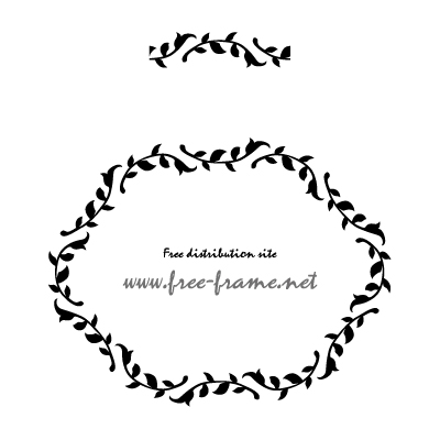 植物のナチュラルな円形・楕円形のフレーム・枠用のイラレパターンブラシ