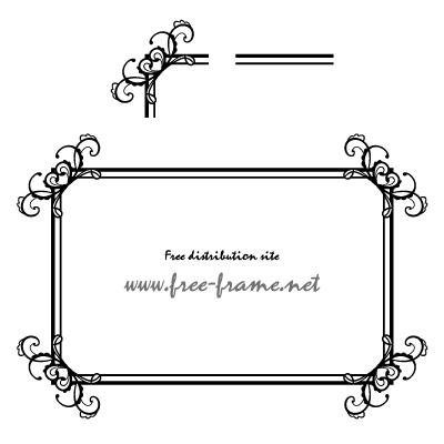 ハートモチーフのスクウェアフレーム・枠用のイラレパターンブラシ
