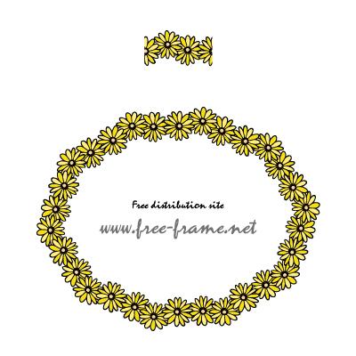 花のイラストの円形フレーム・枠用のイラレパターンブラシ