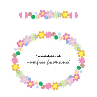 カラフルな花のイラストの円形フレーム・枠用のイラレパターンブラシ