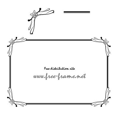 しなやかな飾りの四角フレーム・枠用のイラレパターンブラシ