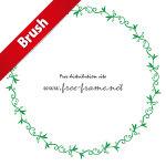 草のようなイラストの円形フレーム・枠用のイラレパターンブラシ
