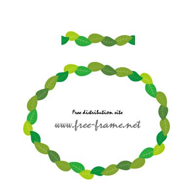 葉っぱのイラストの円形フレーム・枠用のイラレパターンブラシ