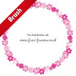 ピンク系統色の花のイラストの円形フレーム・枠用のイラレパターンブラシ