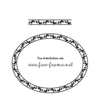 草のモチーフの円形フレーム・枠用のイラレパターンブラシ