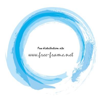 青で重ね書きした筆の円形フレーム