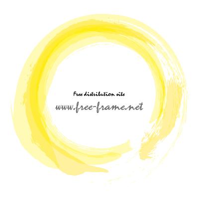 黄色で重ね書きした筆の円形フレーム