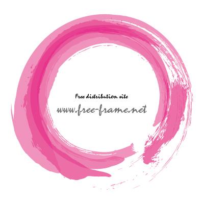 ピンク色で重ね書きした筆の円形フレーム