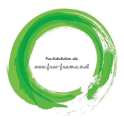 緑色で重ね書きした筆の円形フレーム