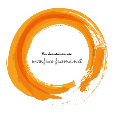 オレンジ色で重ね書きした筆の円形フレーム