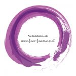 紫色で重ね書きした筆の円形フレーム