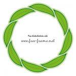 葉っぱのイラストが円形に並ぶフレーム
