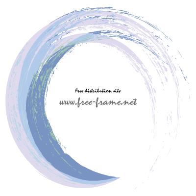 ブルー系ブラシの円形フレーム