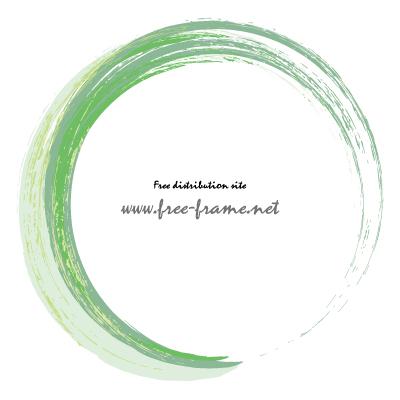 グリーン系ブラシの円形フレーム