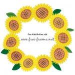 ヒマワリの花のイラスト円形フレーム