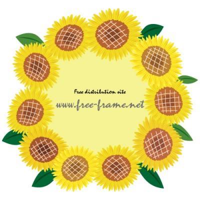 中が薄い黄色のヒマワリイラスト円形フレーム