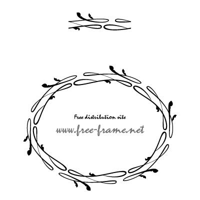 ゆるい曲線の円形フレーム・枠用のイラレパターンブラシ