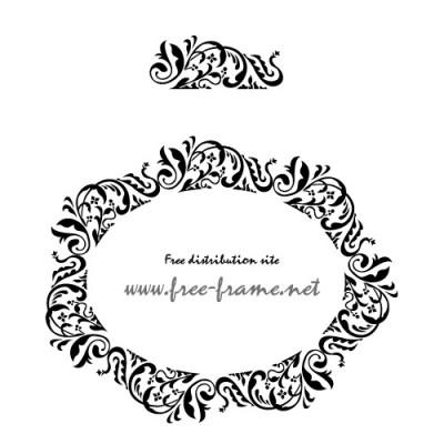 クラシカルなの円形フレーム・枠用のイラレパターンブラシ