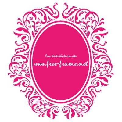 ピンク色のダマスク柄の楕円・オーバルフレーム