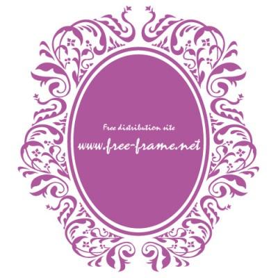 紫色のダマスク柄の楕円・オーバルフレーム
