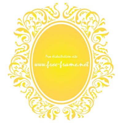 黄色のダマスク柄の楕円・オーバルフレーム