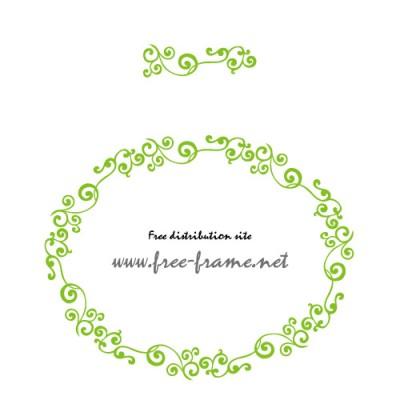 蔦のイラストの円形フレーム・枠用のイラレパターンブラシ