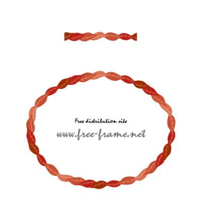 赤い葉っぱのイラストの円形フレーム・枠用のイラレパターンブラシ
