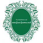 緑色のダマスク柄の楕円・オーバルフレーム
