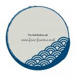 青海波の模様が入った青い毛筆丸枠フレーム