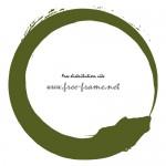 和的な緑色の毛筆、丸枠フレーム素材