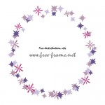 紫色の星形のモチーフが散らばる円形フレーム・枠