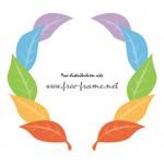 虹色の葉っぱのイラストでできた円形枠フレーム