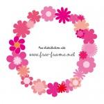 ピンクの花のイラストでできた円形枠フレーム