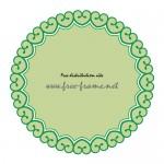 緑色のハートのイラストが並んだ円形枠フレーム