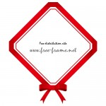 赤いリボン付きの菱形・枠フレーム