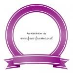 紫色のリボンイラストの円形フレーム・枠
