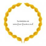 黄色い葉っぱのイラストが並ぶ円形フレーム・枠