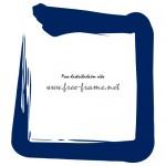 藍色の毛筆の四角フレーム・枠